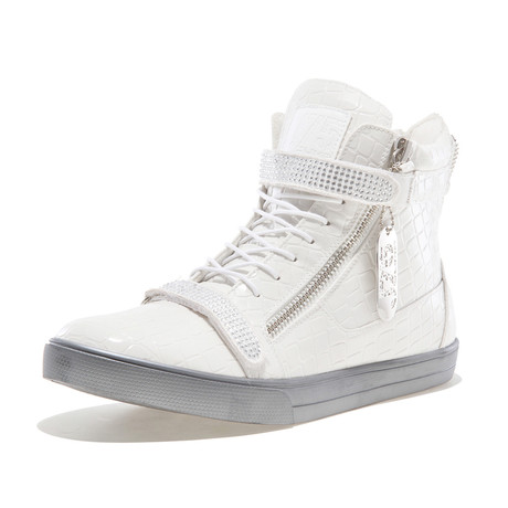 Zion Croc High-Top Sneakers // White (US: 7)