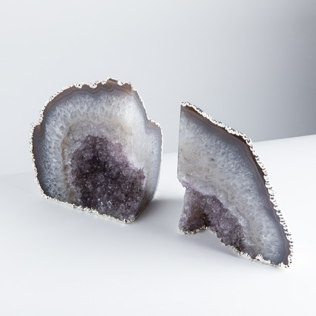 Silver Plated Agate Bookends // Natural (Small)