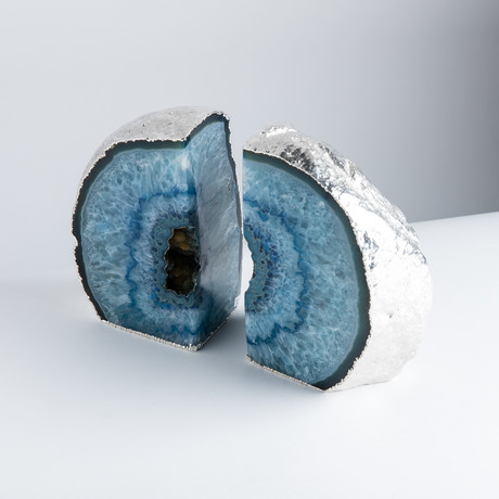 Silver Plated Agate Bookends // Blue (Large)