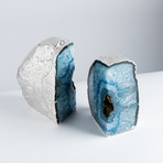 Silver Plated Agate Bookends // Blue (Small)