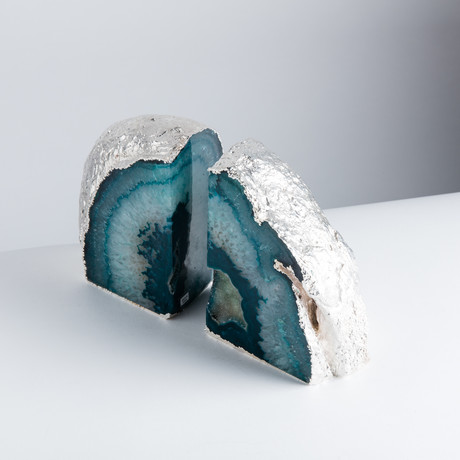 Silver Plated Agate Bookends // Teal // Set of 2 (Small)