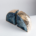 Gold Plated Agate Bookends // Blue (Small)