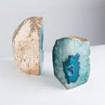 Gold Plated Agate Bookends // Teal (Small)