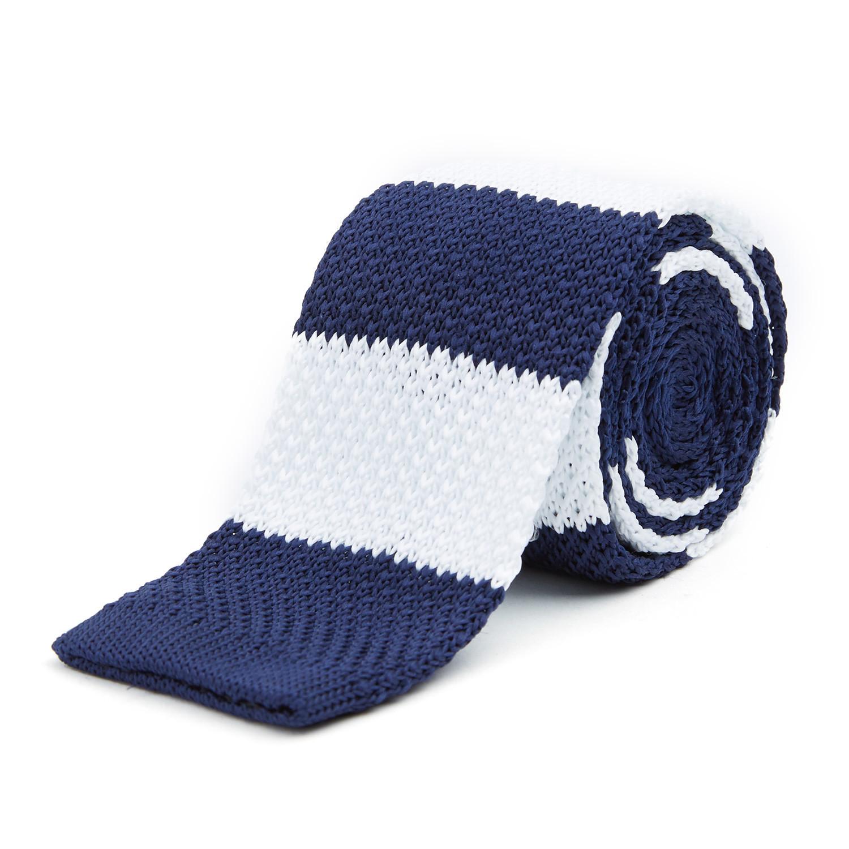 Stripes Knit Tie + Tie Bar // Navy + White - Braveman Ties - Touch ...