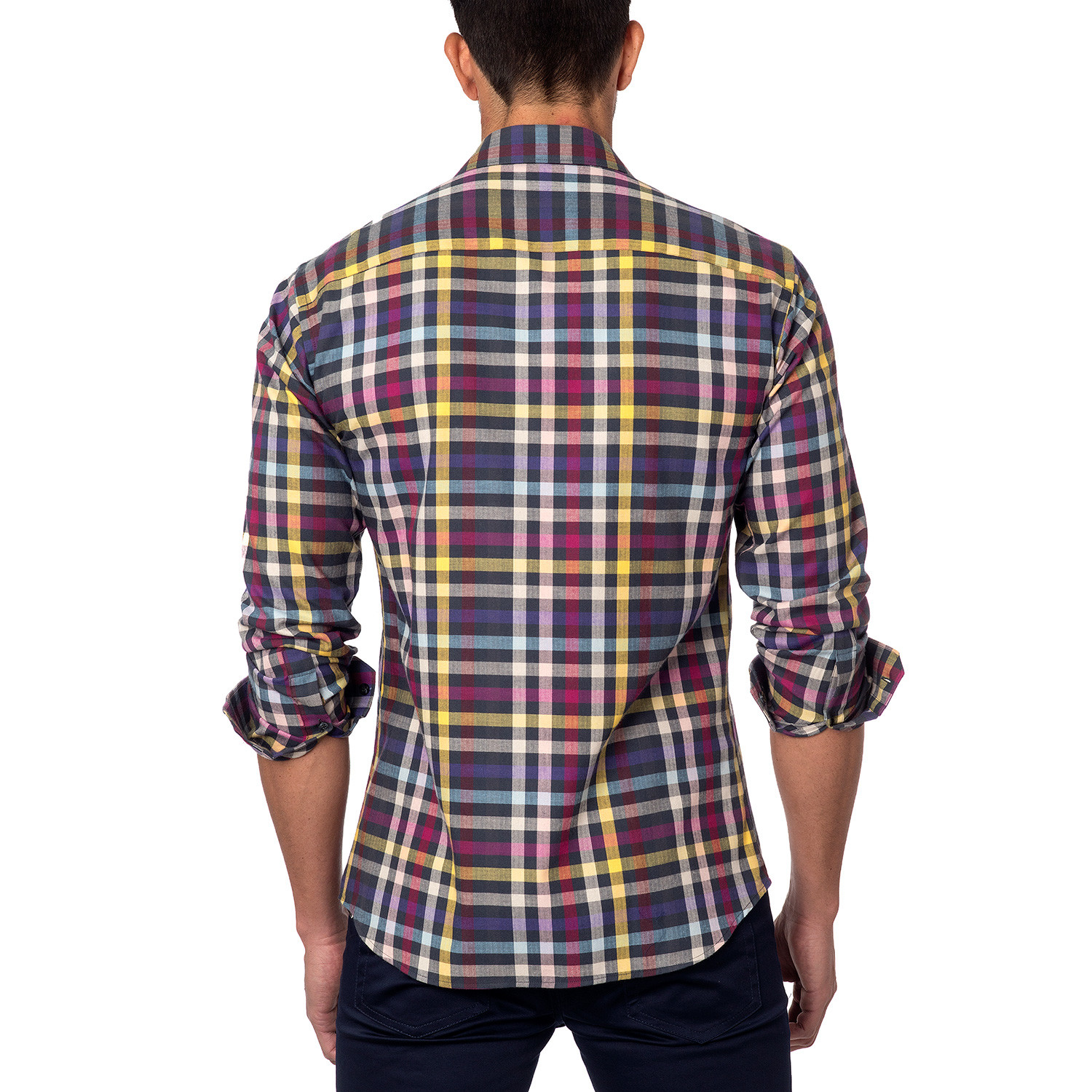 Long sleeve button up purple yellow plaid s for Purple plaid button up shirt