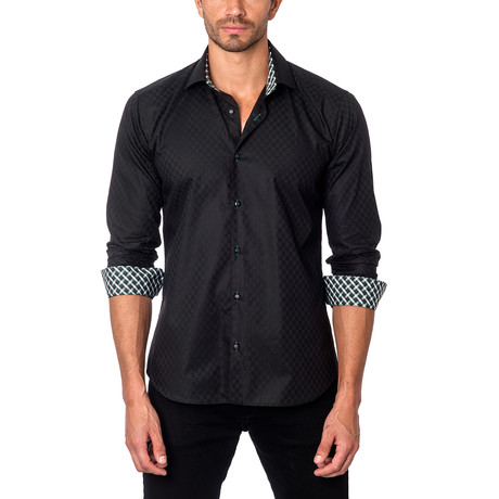 Long-Sleeve Button-Up // Black Square Jacquard