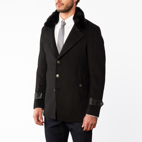 Wool Accent Button Up Overcoat // Black (US: 36R)