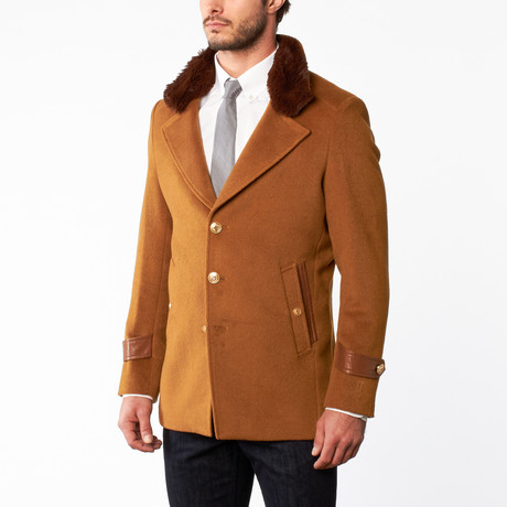 Wool Accent Button Up Overcoat // Dark Camel (US: 34R)
