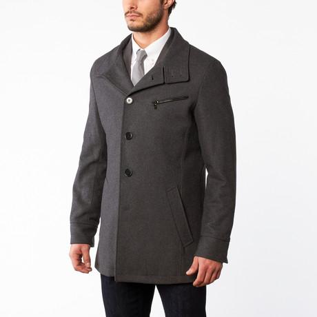 Wool Button Up Overcoat // Medium Grey (US: 42S)