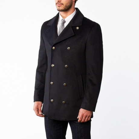 Wool Double Breasted Overcoat // Navy (US: 42S)
