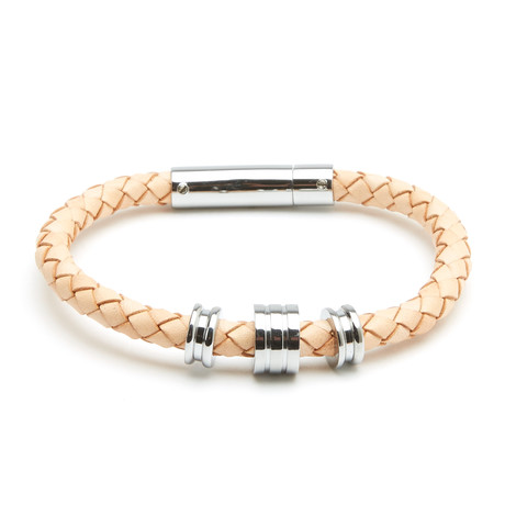 Giovanni Leather Clasp + Ring Bracelet // Beige
