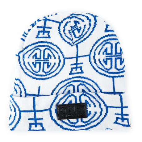 Porcelain Knit Beanie // White + Blue