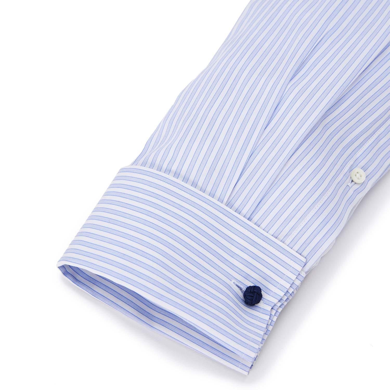 Button Up French Cuff Dress Shirt White Blue Stripe