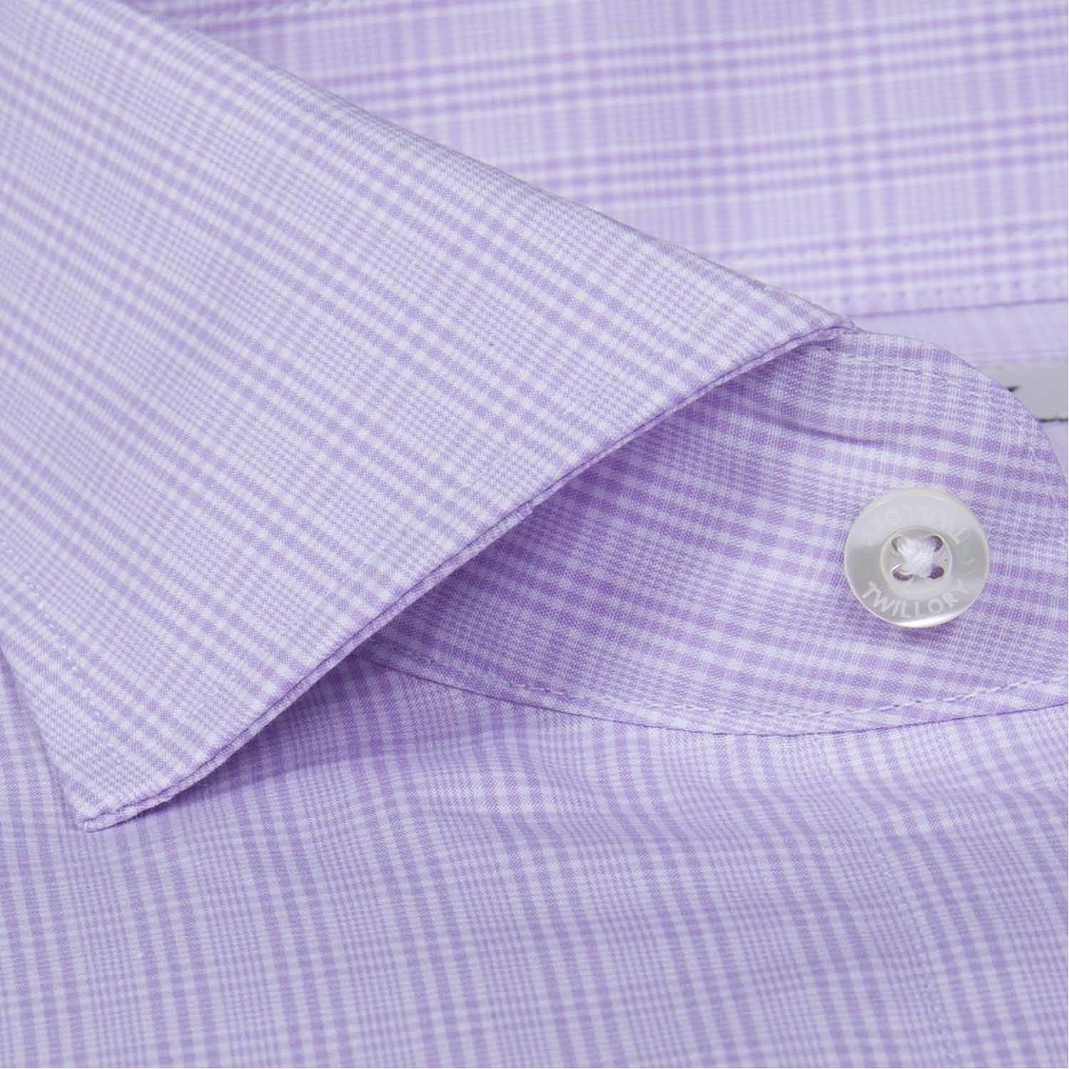 Button Up Dress Shirt Purple Plaid Tailored 15 Neck