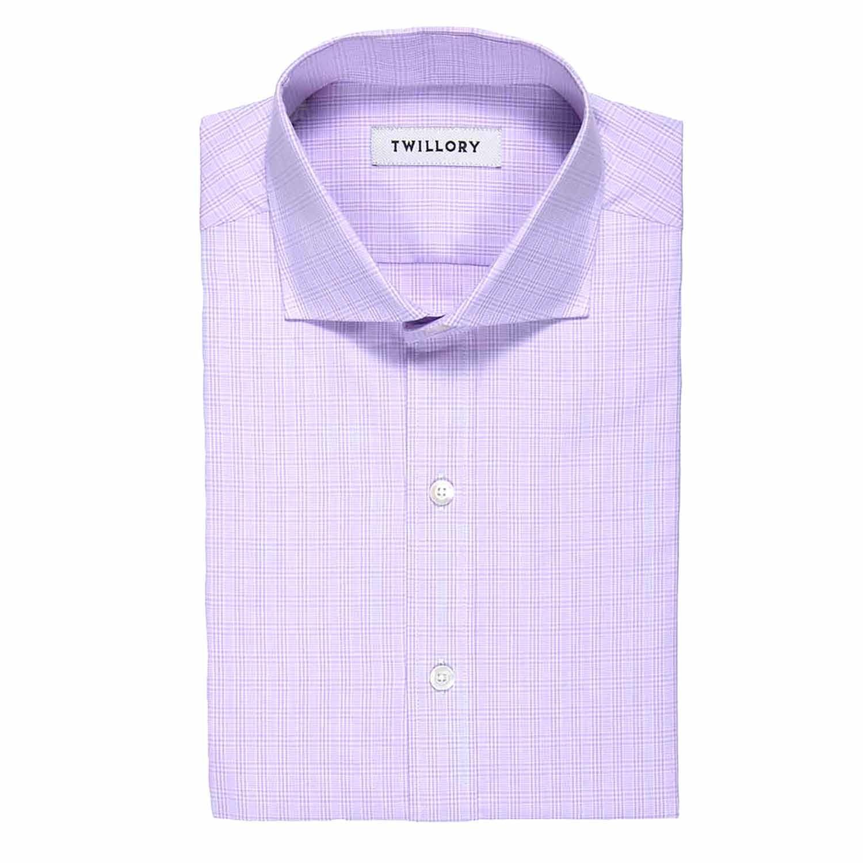 Button Up Dress Shirt Purple Plaid Tailored 15 Neck
