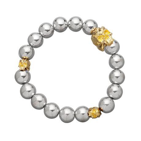 Bead Bracelet // Gold Skull + Silver