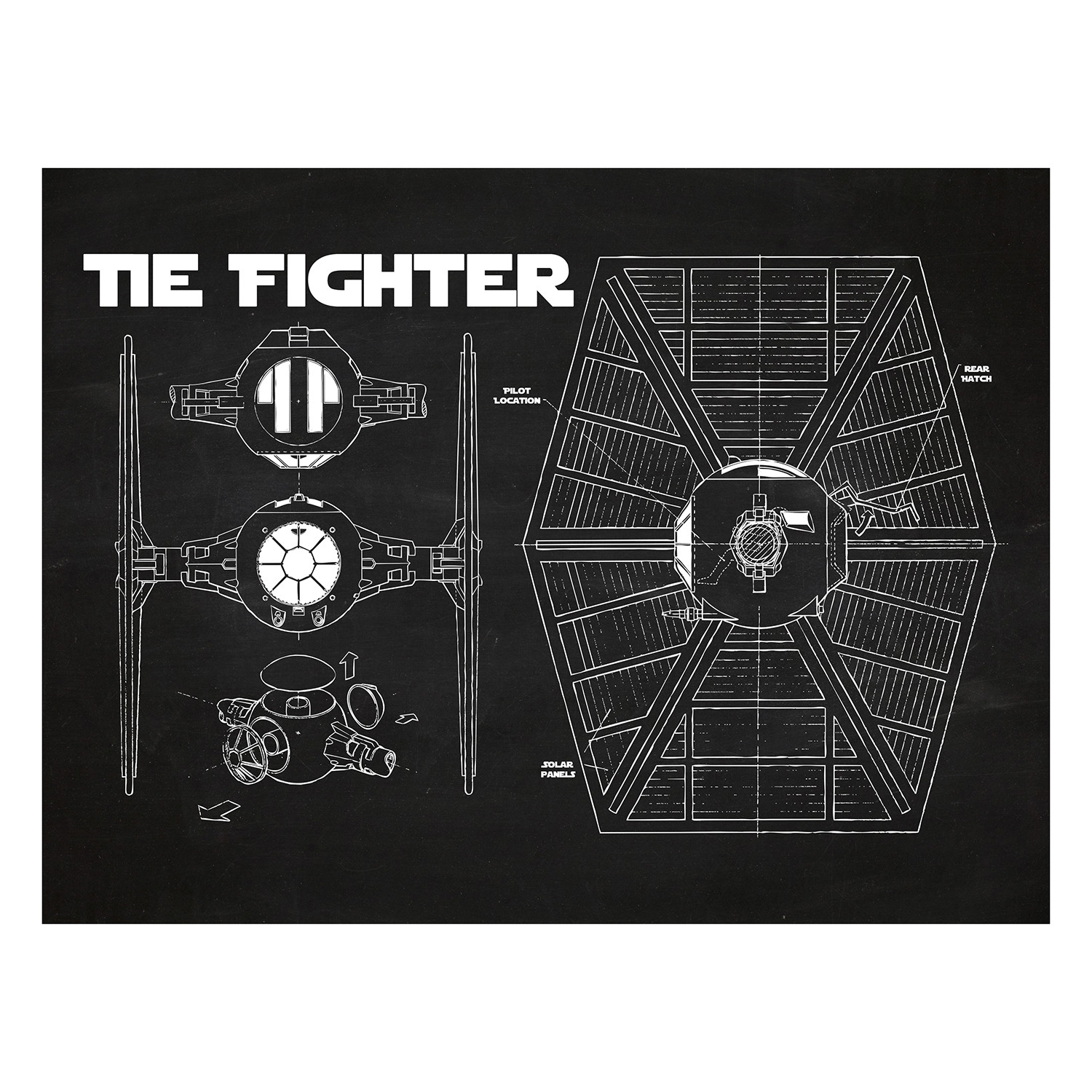 Star Wars Tie Fighter Cutaway (Blue Grid) - Inked & Screened - Touch Tie Fighter Schematic on tie advanced, tie phantom, y-wing schematic,
