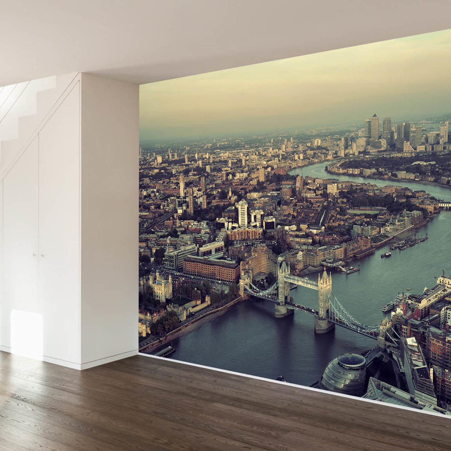 the river thames wall mural decal 4 panels 93 width. Black Bedroom Furniture Sets. Home Design Ideas