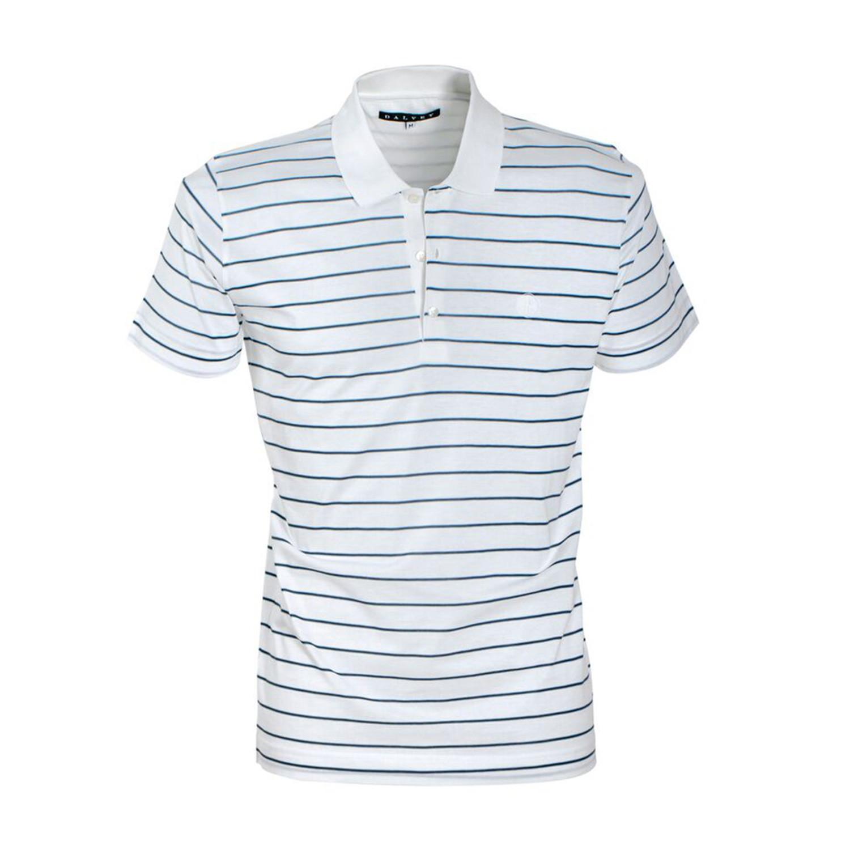Jersey Knit Polo Shirt White Teal Stripe S Dalvey