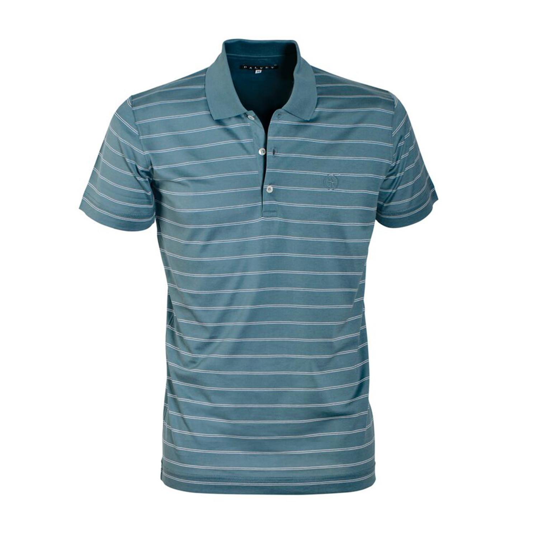 Jersey Knit Polo Shirt Teal Stripe S Dalvey Touch