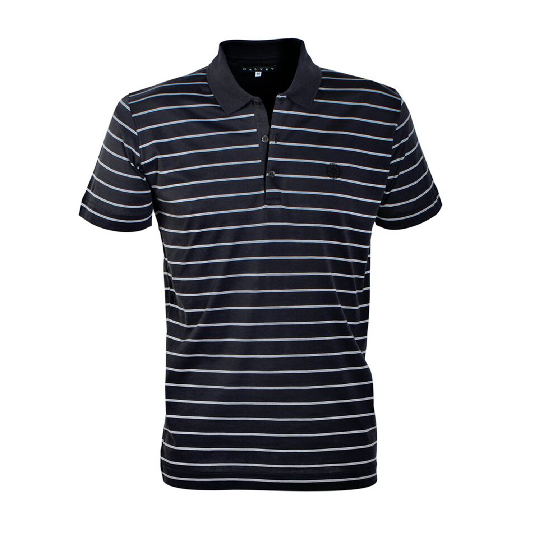 Jersey Knit Polo Shirt Navy Grey Stripe S Dalvey