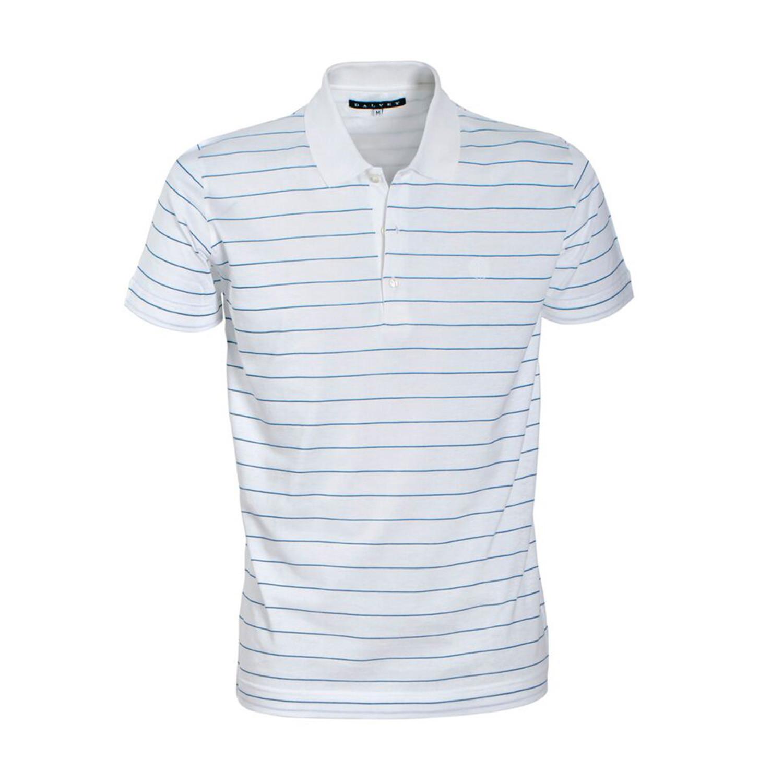Jersey Knit Polo Shirt Sky Blue Pinstripe S Dalvey