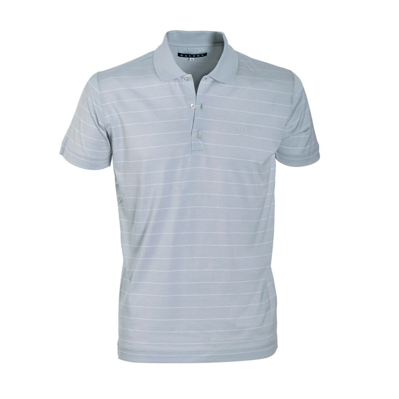 Jersey Knit Polo Shirt Grey Pinstripe S Dalvey