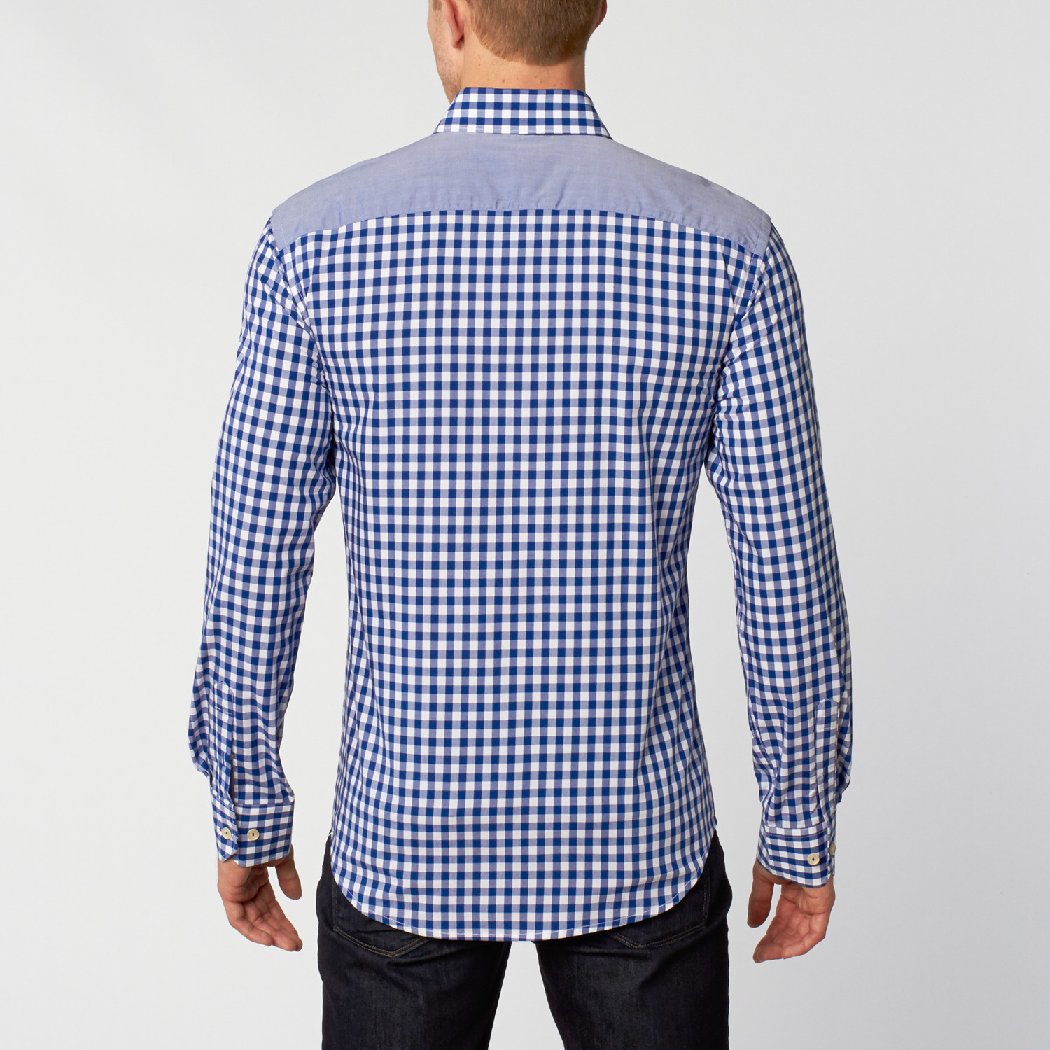 Dress shirt blue white s ethan williams touch for Blue white dress shirt