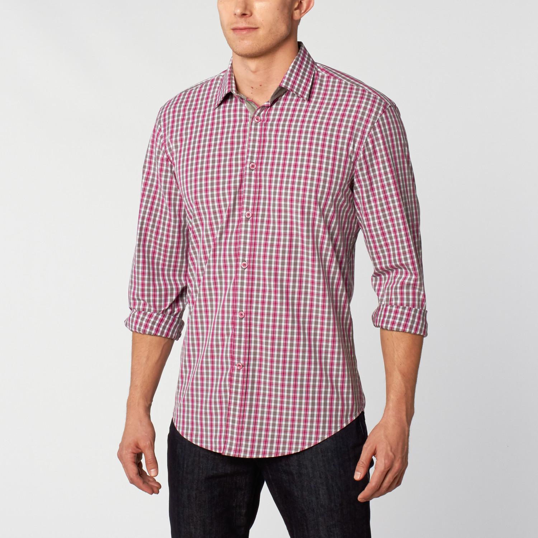Dress Shirt Light Grey Fuschia Xl Ethan Williams Touch Of