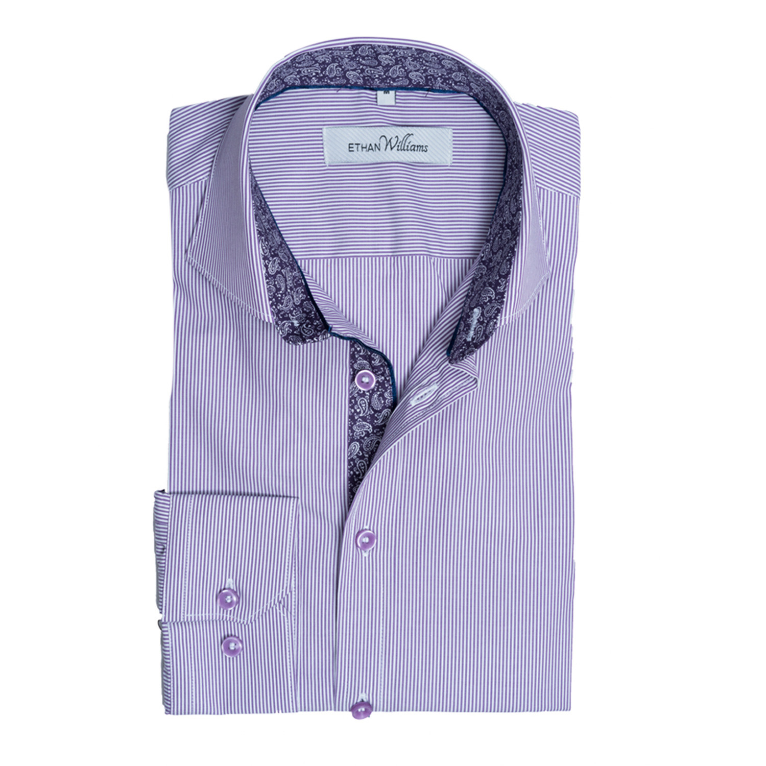 Button down dress shirt purple stripe s ethan for Purple striped dress shirt