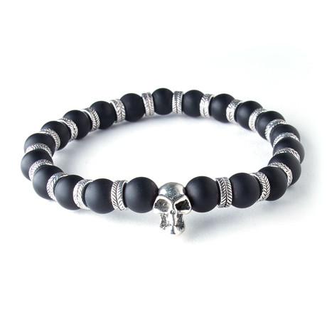 Beaded Skull Bracelet // Silver + Black Agate