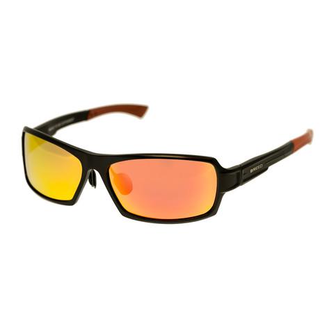 Cosmos Polarized Sunglasses (Black Frame + Red-Yellow Lens)