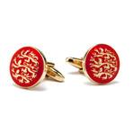 Three English Lions Cufflinks // Red + Gold