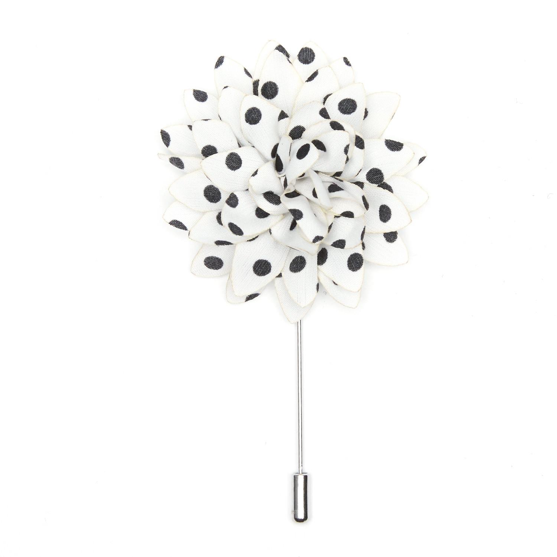 Stylish Beautiful Black Flower Lapel Pin: Dotted Flower Lapel Pin // Black + White