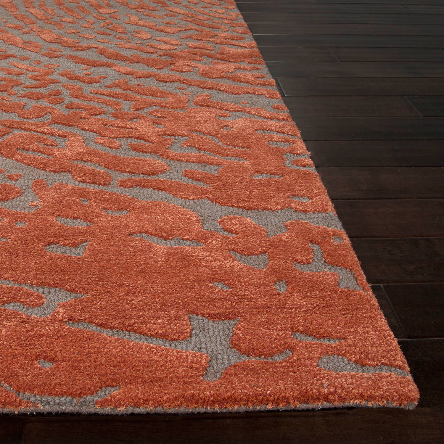 Contemporary Abstract Pattern Area Rug Red Grey 2 X