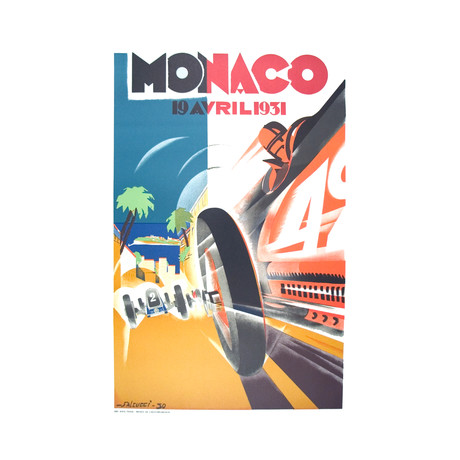 Monaco Grand Prix 1931 // Robert Falcucci // 1983 Lithograph