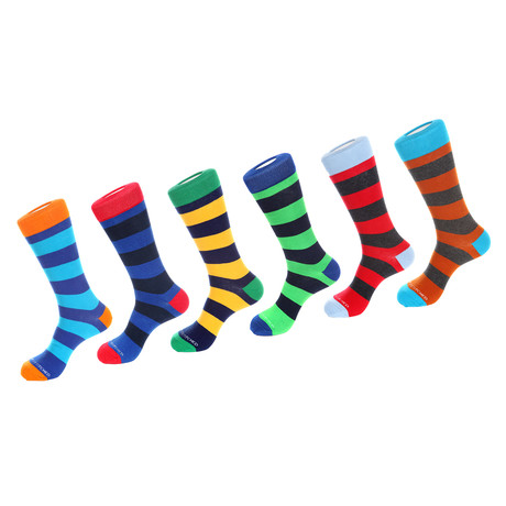 Dress Sock // Thick Stripe // Pack of 6