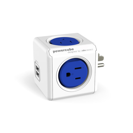 PowerCube Original USB 2.0 // 4 Outlets // Blue