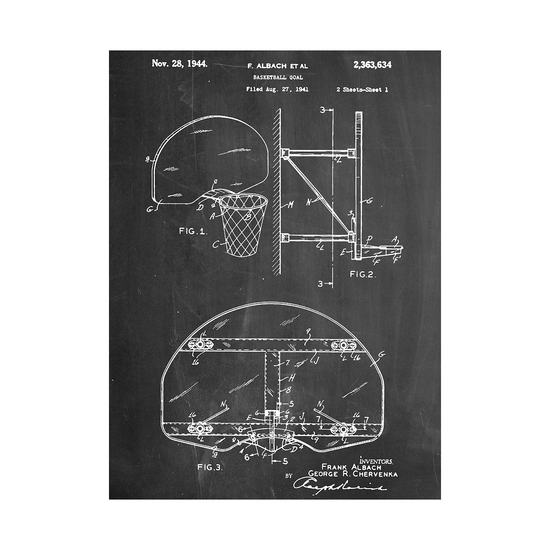 Basketball hoop blueprint art touch of modern basketball hoop malvernweather Choice Image
