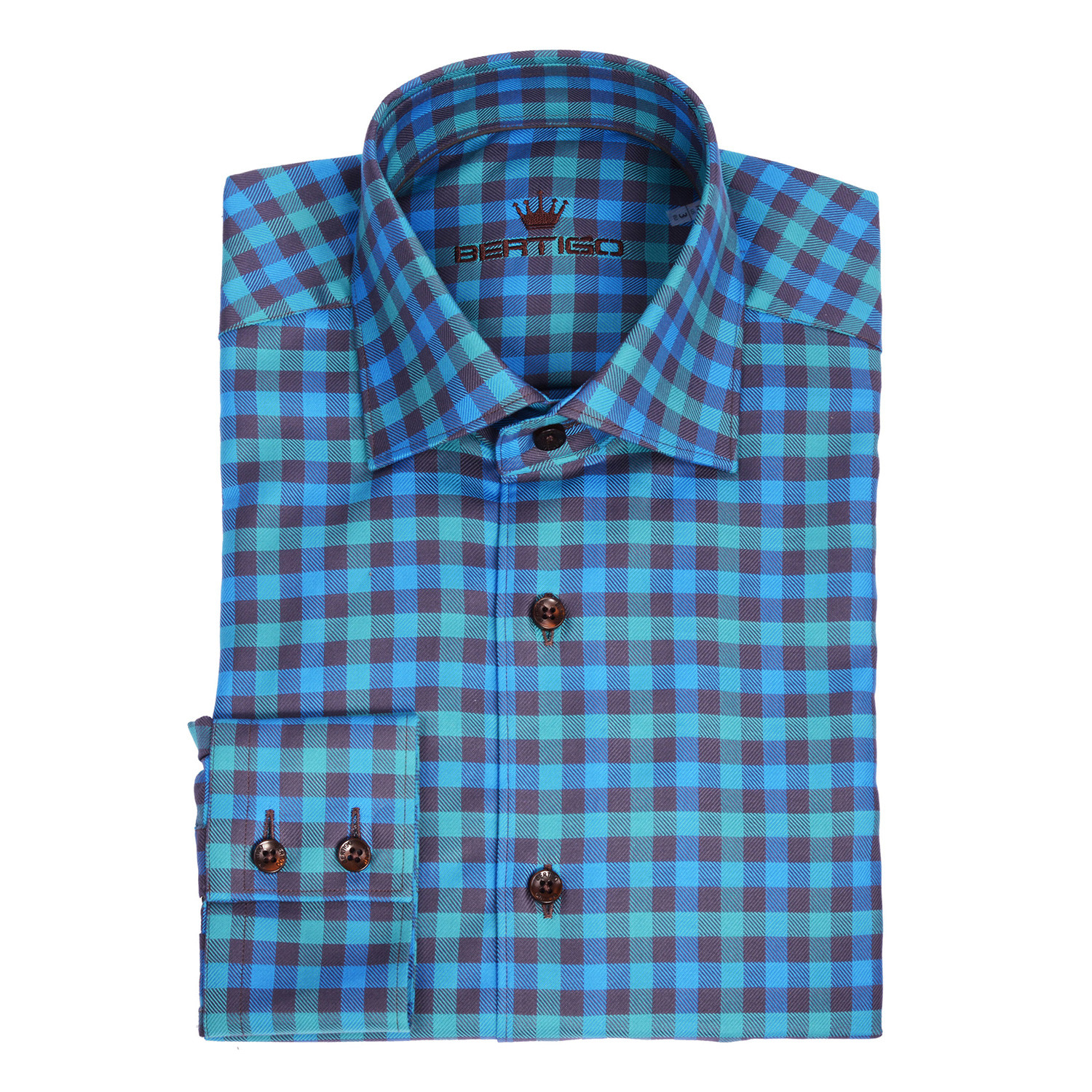 Martini Twill Button Up Shirt Turquoise Navy Blue