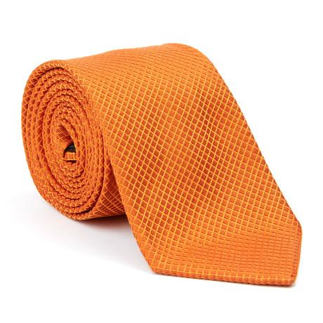 Silk Tie // Orange Diamond Grid