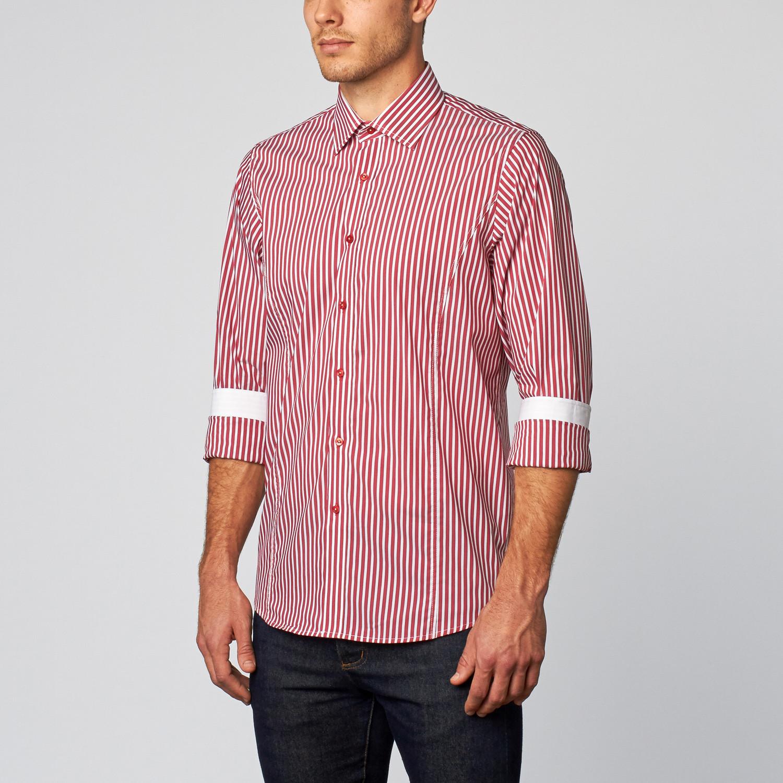 Palenzo striped button down shirt red white s for Red and white button down shirt