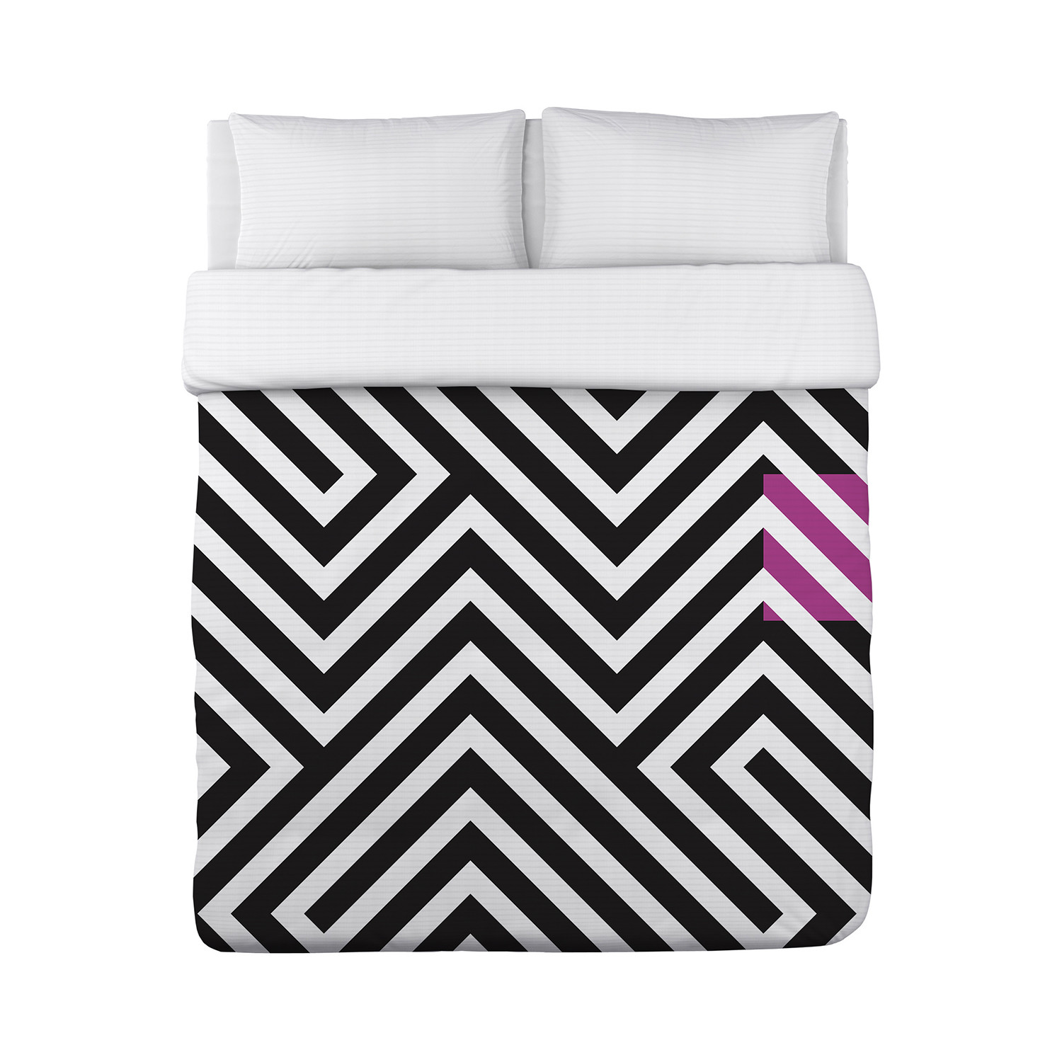 Sti Geometric Duvet Cover Black White Pink Lightweight King