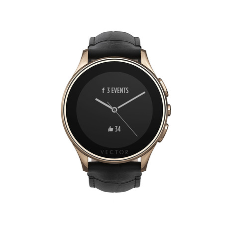Luna Classic Digital Smart Watch // Rose Gold + Black Croco Strap (Small Fit)
