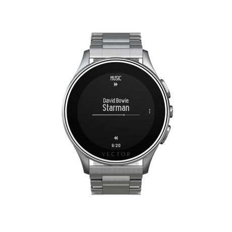 Luna Contemporary Digital Smart Watch // Steel + Steel Bracelet
