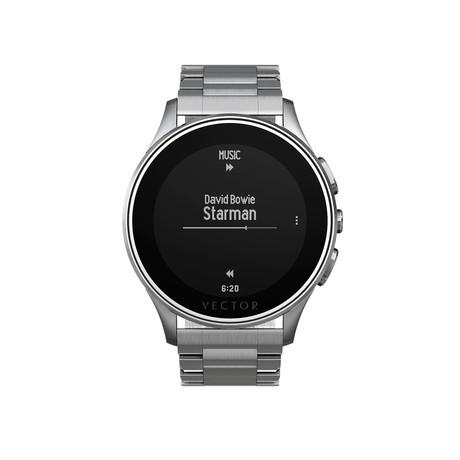 Luna Contemporary Digital Smart Watch // Steel + Steel Bracelet