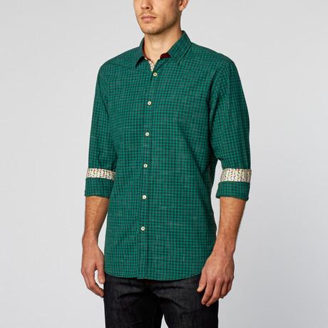 You + Shirt // Checkered Sport Shirt // Green + Navy (XL)