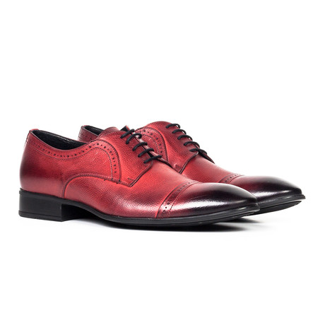 Leather Oxford Shoe // Red