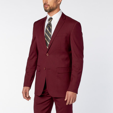 Slim-Fit 2-Piece Solid Suit // Burgundy (US: 36S)