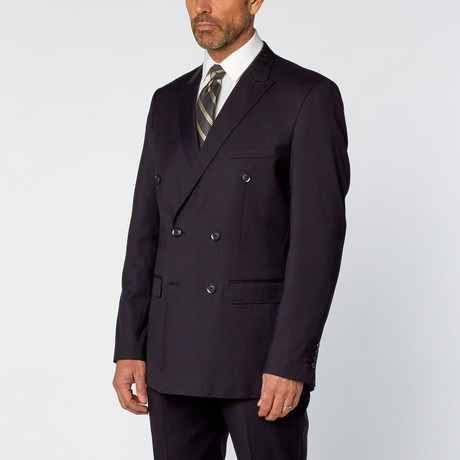 Slim Fit Double Breasted Solid Suit // Navy (US: 36S)